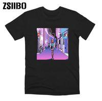 Zsiibo Retro Mozaik T Gömlek Moda Üzgün Kız Baskı Japon Anime Erkekler Tshirt Estetik Tops T-Shirt Tee Gömlek Harajuk Erkek / Kadınlar
