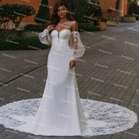 Gorgeous Puff Sleeve Mermaid Wedding Dress 2021 Plus Size Satin Backless Boho Beach Bridal Dresses Sweep Train Country Bride Robes De Mariage