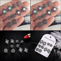 Earrings Jewelryfashion Hollow Carved Diamonds Stud Dazzling Blue White Gemstone 5 Pairs Set Drop Delivery 2021 8Ix1M