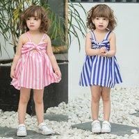 الصيف الأطفال مخطط تنورة طفل الفتيات اللباس جميل أكمام كبير bowknot الأميرة زلة فساتين حزب عيد الميلاد الملابس G55L3NA