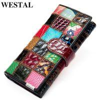 WESTAL Women's Wallet Genuine Leather Patchwork Wallet for Women Clutch Bags for Cellphone Women's Purses Coin Wallets Long 4202 C0601