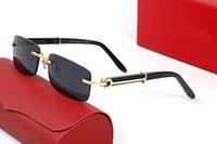 2021 Çerçevesiz Degrade Lensler Güneş Gözlüğü Satıcı Oval Altın Mavi Kadın Erkek Reçete Metal Çerçeve Gözlük Boy Çerçevesiz Katı Altın Ahşap Gözlük Kutusu