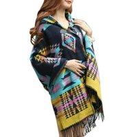 여성 재킷 패션 여성 보헤미안 칼라 격자 무늬 케이프 망토 Poncho 자켓 코트 목도리 스카프 4 색 T77
