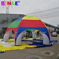 8M Airblow Airblow Rainbow Color gigante de la cúpula de la araña inflable con 6 vigas, gran marquesina al aire libre para el evento