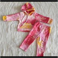Babykleidung Baby, Mutterschaft Drop Lieferung 2021 Design Kinder Set Jacke mit Hut Lange Hosen Fall Outfits Reine Baumwolle Krawatte Dye Boutique Girls
