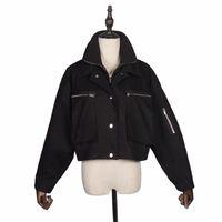 Women's Jackets Mini Hip Hop Women Jacket White Zipper Loose Casual Buttons Ladies Coats Long Sleeve Black Windbreaker Chaqueta GG50yf