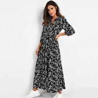 Casual Dresses Vintage Floral Print Maxi Dress Women Boho Three Quarter Sleeve Long Turn Down Collar Shirt Robe Vestidos