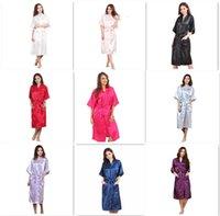 9 renkler moda kadınların katı ipek kimono bornoz nedime için düğün parti gece elbisesi pijama m011