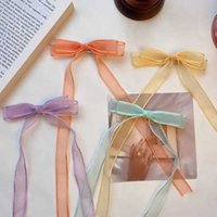 2021 fashion baby jewelry bow hair accessories Princess lovely mesh ribbon duckbill clip hairpin
