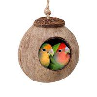 Kuş Yuva Doğal Hindistan Cevizi Kabuğu Küçük Pet Papağan Kafes Ev Yazlık Yuvarlak Yatak Hamak Kuş Yuvası Küçük Hayvan Malzemeleri
