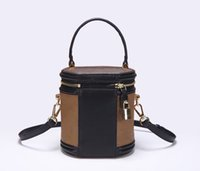 Cannes Women's Portable Cosmetic Bag Redondo Barril Mini Strap Strap Strap Crossbody Multifuncional Cremallera Diseño