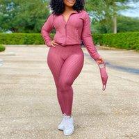 Women's Tracksuits 3XL Plus Size Two Piece Outfits For Women Zipper Sweatshirts Hoodies Bodycon Sweatpants Tracksuit Solid Color Pants Suit