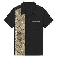 남성 캐주얼 셔츠 2021 여름 짧은 소매 복고풍 동물 뱀 인쇄 코튼 남자 셔츠 빈티지 스타일 볼링