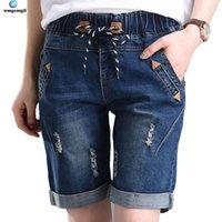 wangcangli casual azul cordão denim shorts mulheres botão verão praia alta cintura shorts bolso xxxl jeans feminino