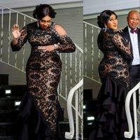 2021 Сексуальная роскошь арабский арабский ASO EBI черные вечерние платья высокая шея длинные рукава полное кружевное кристалл бисероплетение Bling русалки русалки вечернее платье формальные платья Prom Prom
