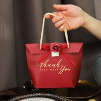 Gift Wrap 10pcs Red Wedding Tote Bag Packaging Box For Favors Birthday Party Supplies Brand Paper Flower Hand Bags