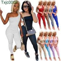 2021 Mujeres Diseñador Jumpsuits Sexy Un Hombro Sin mangas Hip Levantamiento Deportes Mamelucos Elegante Skinny BodySuit Clubwear