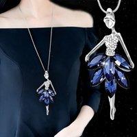 Yutong أزياء الأزرق الكريستال الباليه الرقص فتاة قلادة قلادة الباليه الكلاسيكية رابط سلسلة قلادة قلادة مجوهرات فتاة هدايا