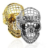 Retro Men Hip Hop Imitation Stainless Steel Titanium Steel Punk Hollow Net Ghost Head Jewelry Skull Ring Wholesale