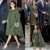 Queen Letizia short prom formal dresses with cape 2021 Olive Army Green vestido de madrinha evening party Gown
