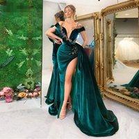 2021 dark green Newest Saudi Arabic Evening Dresses deep v neck Luxury Crystal Beading Velour Dubai Prom Gown High Slit Formal Party Dress Robes