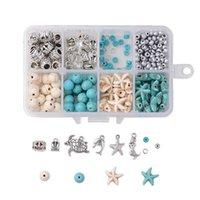 1box tema do oceano encantos pingentes tartaruga mar estrela estrela dolphin sereia starfish encantos DIY jóias brinco bracelete colar fazendo 210720