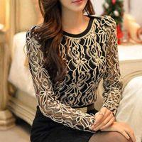 2019 nova chegada mulheres vestuário mulheres coreanas elegante camisa feminina vintage plus tamanho manga comprida preto lace chiffon blouse 651E05