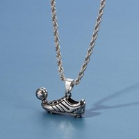 Charm Football Soccer Boots Shoes Pendant Necklace Punk Shoe Chain For Boy Hip Hop Men's Sporty Style Metal Jewelry Necklaces