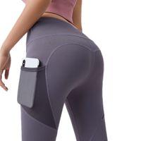 Cintura alta feminina Running Leggings Yoga Calças do lateral Scrunch Scrunch Tummy Control Butt Lift Rápido Seco Sólido Fitness Fitness Workout