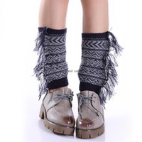 Bohemia Side Tassel Anklet Leg Warmers Knit Braid Short Boot Cuffs Toppers Leggings shoes Loose Socks Women Girl Autumn Winter Warm Stockings Clothign Will and Sandy