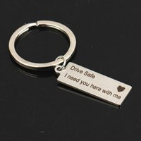 Keychains LOULEUR Personalized Stainless Steel Keychain Drive Safe I Need You Here With Me Gold Silver Rose Heart Key Chain Rings