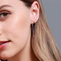 Korean Women Long Tassel Chain Stud Earrings Arc-shaped Diamond Copper Ear Drop Girls Dress Party Gift Wear Dangle Earring Jewelry Accessories Wholesale