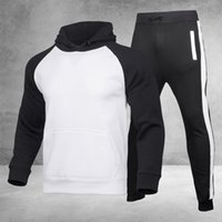 Men's Tracksuits Mens Tracksuit Running Suit Side Stripe Hoodies Set Man Fleece And Pants Male Work Out Clothes Jogger Gym Clothing