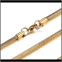 Chains Necklaces & Pendants Jewelrywomen Men 316L Stainless Steel Necklace Gold Sier Color 4Dot2Mmx60Cm Snake Chain For Diy Jewelry Making M