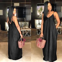 Sexy Beach Denim Maxi Long Dress Women V Neck Strapless Backless Loose Solid Clothes Plus Size Floor-length Vestidos