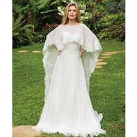 Wraps & Jackets Wedding Boleros White Beige Cape Lace Edge Embroidered Cloak Bridal Long Shawls For Elegant Accessories