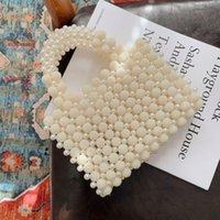 Nouveaux Perles Sacs à main Femmes 2021 Nouveau Elegant Coréen à la main Tissu Perles Perles Perles Perles et Sac à main Dames Basket Panier Embrayage Sacs fourre-tout C0508