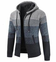 Полосатый печать с длинным рукавом с капюшоном пальто контрастный цвет мужская одежда толстый кардиган мужской дизайнерский свитер зима