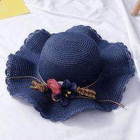 Мода дети дети Sun Hat девушка лето цветочный дизайн пляж соломенные шляпы плоская крышка 4-8y милый малыш девушка аксессуары шляпа 2020 127 q2