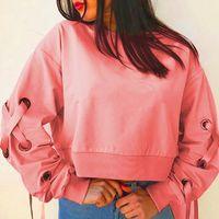 Women's Hoodies & Sweatshirts Loose Hoodie O-neck Long Sleeve Bandage Solid Casual High Street Crop Tops Large Plus Size 2021 Fashion Korean