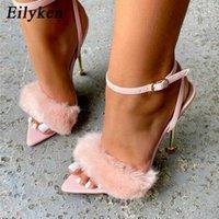 Eilyken 2021 New Pink White Women Sandals Sexy Open Toe Furry Fur Summer High-Heeled Sandals Ladies Wedding Stripper shoes Y0608