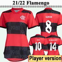 21 22 Flamengo Diego Erkek Oyuncu Sürüm Futbol Formaları E. Ribeiro Gabi Gerson B. Henrique Ev Kırmızı Siyah 3rd Futbol Gömlek Üniformaları
