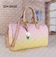 Bolsa de travesseiro gradiente qualidade ombro crossbody bolsas mulheres retiro impresso bolsa clássico zíper interior bolso grande capacidade 33cm