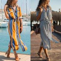 Casual Dresses Aachoae Turn Down Collar Office Ladies Stripe Shirt Dress Long Boho Beach Sleeve Elegant Party Vestidos
