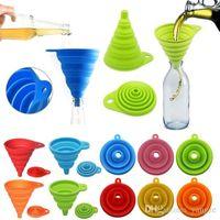 Colandas portátil silicona embudo plegable mini dispensador de aceite tolva herramientas de cocina de cocina suministros