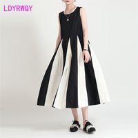 Ldyrwqy Rundhause Ärmellose Hosenträger Mode Damen Lose Bauchkleid Polyester Büro Lady Sommer Französisch 210416