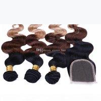브라질 ombre 머리카락 확장 머리 레이스 클로저 3 색 # 1B 4 27 레이스 폐쇄 4 개와 헤어 묶음 4 개