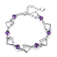 925 Sterling Silber Herz lila Zirkon Armband für Frauen Schmuck Engagement Party Weihnachtsgeschenk 1202 T2
