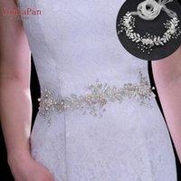Wedding Sashes YouLaPan SH323 Women's Flowers Bridal Sash Alloy Leaves Belts Handmade Crystal Silver Diamond Bridesmaid Dress Belt