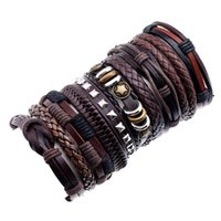 10pcs set Vintage Star Multilayer Leather Bracelet Rope Hand Woven Men's Gift Bracelets And Charm